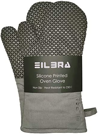 Oven Mitts with High Heat Resistant of Silicone and Quilted Cotton Lining Heavy Duty Kitchen product image