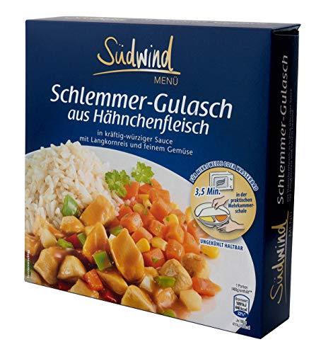 Schlemmer-Gulasch aus Hähnchenfleisch in kräftig-würziger Sauce mit Langkornreis und feinem Gemüse – Fertiggerichte für die Mikrowelle / Wasserbad - Südwind Lebensmittel