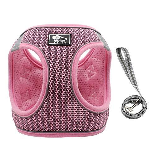 IEUUMLER Brustgeschirr Hundegeschirr Air Mesh für Große, Mittelgroße, Mittlere & Kleine Hunde IE083 (M, 073 Pink)