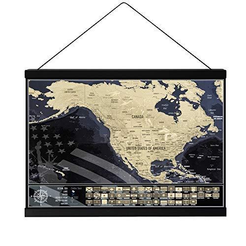 Mappa da grattare Stati Uniti con porta poster magnetico, Mappa da viaggio USA con bandiere di stato, Prodotto in Europa, Dimensioni mappa 42 cm x 29,7 cm