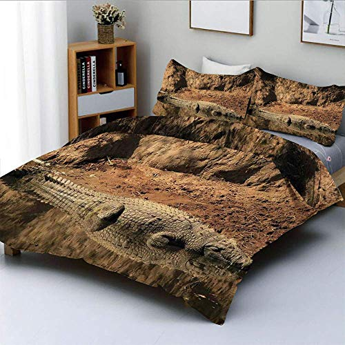 Jojun Duvet Cover Set,Nile Crocodile Swimming in the River Rock Cliffs Tanzania Hunter GeographyDecorative 3 Piece Bedding Set with 2 Pillow Sham,Brown Tan,Best Gift For Kids & Adult Easy Care A