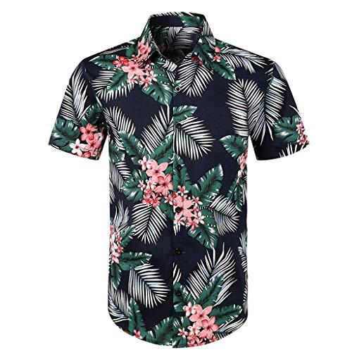 CICIYONER Herren Hawaiihemd Sommer Kurzarmhemd Blumenprint Funky Hawaiishirt Freizeithemd Urlaub Hawaii-Print S M L XL XXL XXXL