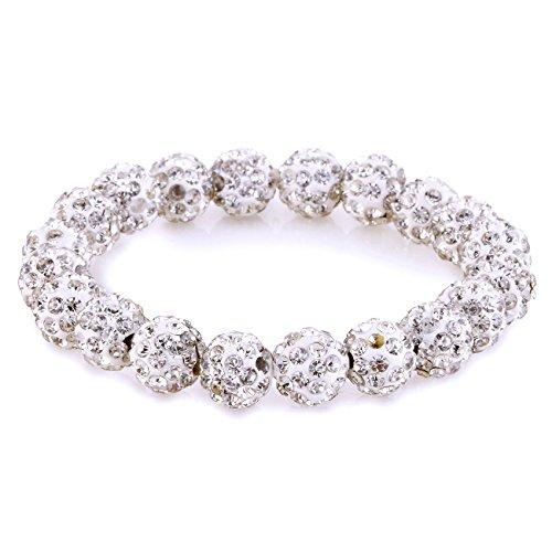Morella® Damen Armband Perlen mit Zirkoniasteinen elastisch weiß