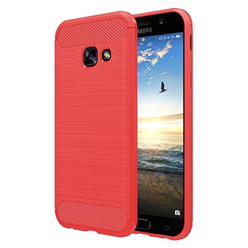 Simpeak Hülle Kompatibel mit Samsung Galaxy A3 2017, Premium Weiche Carbonfaser Elastisch Schützendes Rückseiten-Hülle Kompatibel für Samsung A3 2017 [Fallschutz] [rutschfest] [Kratzfest] - Rot