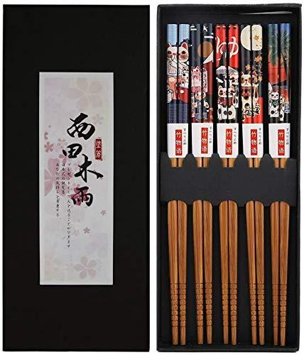 Bosdontek, 5paia di bacchette di legno giapponesi, riutilizzabili, naturali, lavabili in...