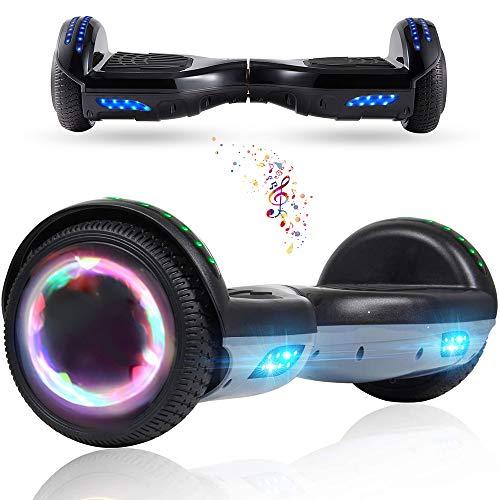 Wind Way Hover Board 6,5 Pouces - Bluetooth - Puissance 700W - Overboard LED - Skateboard Auto Equilibrage - Balance Board Tout Terrain Adulte - Enfant Cadeau Pas Cher - Noir Chromé