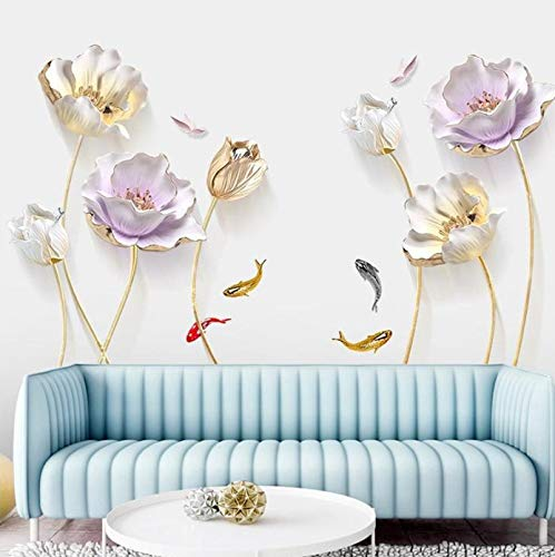 Tulip Wall Sticker 3D Butterfly Flower Stickers Removable Living Room Bedroom Bathroom Home Decor Decoration Posters