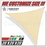 ColourTree 20' x 20' x 20' Beige Sun Shade Sail Triangle Canopy – UV Resistant Heavy Duty...