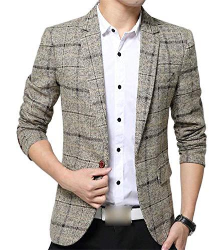 Heren Sakko geblokte blazer 1 fit knoop slim jongens herenmode pak jas lente basic business herensakko revers Nner vrije tijd mannen casual stijlvolle