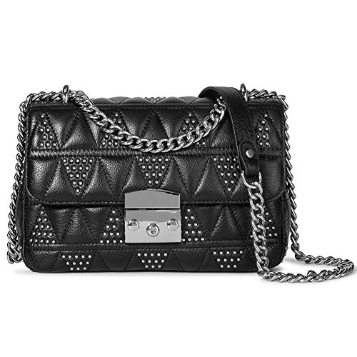 Crossbody Shoulder Bag for Women Leather Quilted Rivet Designer Handbags Purse with Metal Chain Black