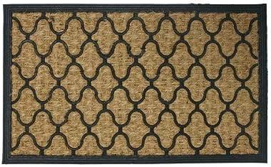 """Rubber-Cal """"Harmonious Garden"""" Outdoor Coco Decorative Rubber Entry Mat, 18 x 30-Inch"""