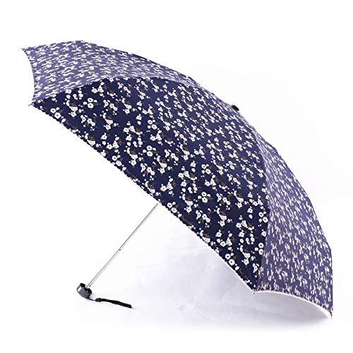 Sonnenschirm Regenschirm Quality Life Mini Pocket Ultraleichter Regenschirm Regen Frauen Fünf Faltbare Kleine Blume Parapluie Sunny/Rainy Travel Regenschirm Sonnenschirm Darkblue