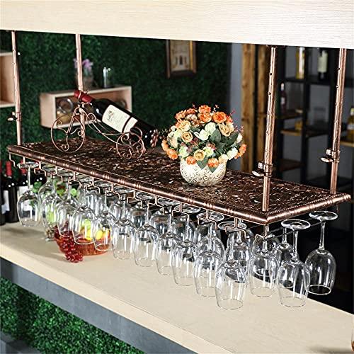 Colgador Copa Vino Metal, Soporte para Copa de Vino Colgante, Soporte para Vino, Soporte para Copa de Vino Invertido con Ranuras, Botelleros de Techo para Vino, Usado en Barra,Cocina-Bronze_100*35cm