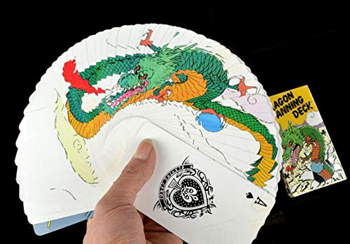 SUMAG Dragon Fanning Deck Magic Tricks Manipulation 4 Color Dragon Fanning Deck Magic Close Up Gimmick Fun Visual Unusual Card Deck