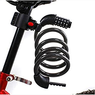 Bike Lock Cable, 4-Feet Bike Cable Basic Self Coiling Resettable Combination Cable Bike Locks with Complimentary Mounting ...