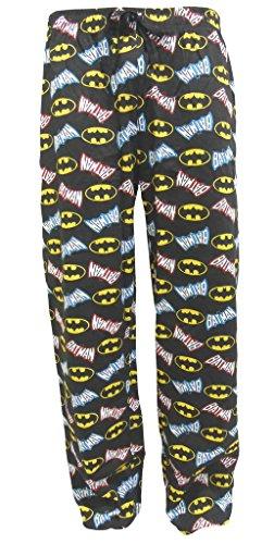 Herren BATMAN-Logo Überall Bedruckt Freizeithose Lang Pyjamahose Größe S M L XL - Schwarz, Small, Schwarz
