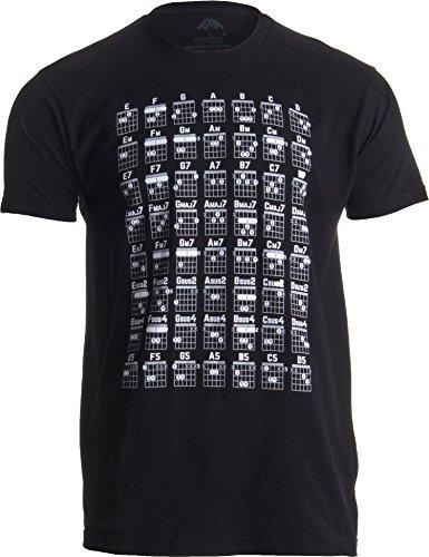 Guitar Chord Chart | Cool Musician Guitarist Teacher Music Playing Notes T-Shirt-(Adult,L) Black