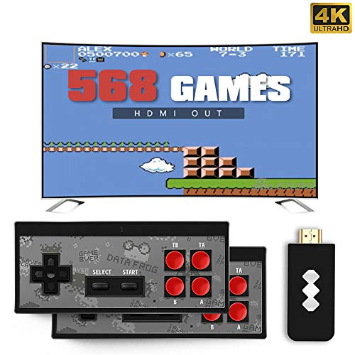 LYPXX Retro Mini HDMI 4K TV Game Stick Konsolen Controller, 568/600 Eingebaute Klassische Spiele, Handheld Spielekonsolen für Kinder, Plug and Play Wireless Gamepad (Y2 HDMI 568 Games)