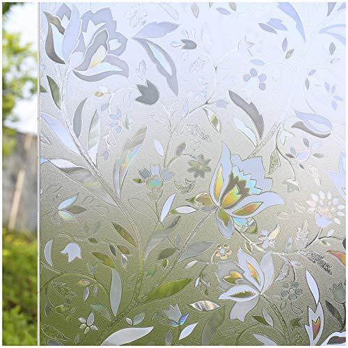CottonColors no-glue 3d estático decorativo Privacidad película para ventana, vinilo, Tulip, 35.4In X 118.1In