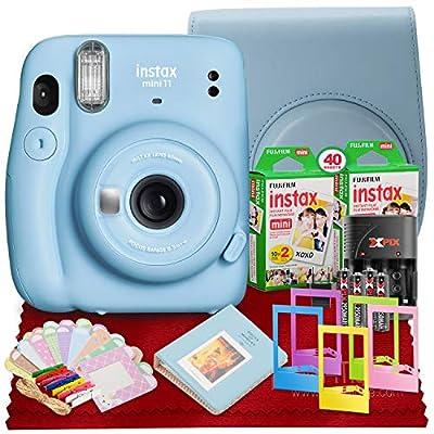 PS FUJIFILM INSTAX Mini 11 Instant Film Camera (Sky Blue) with Fujifilm Instax Mini Twin Film (40 Exposures), Accessory Case, and Accessories Bundle by FUJIFILM