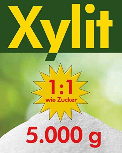 5kg Xylit Birkenzucker | 5 x 1kg Beutel | 40% weniger Kalorien | zahnfreundlich & vegan | süßt 1:1 wie Zucker