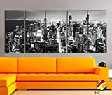 Original by BoxColors XLARGE 30'x 70' 5 Panels 30'x14' Ea Art Canvas Print Chicago Aerial Skyline night Downtown Black & White Wall Home decor interior (framed 1.5' depth)