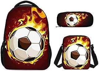 SCBW014001RYM 3Pcs/Set Portfolio School Bags for Boys Girls Cool Fire Football 3D Printing Backpacks Bookbag Casual Daypacks Mochila Escolar