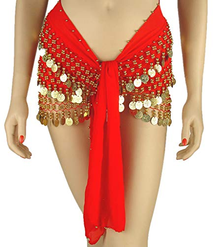 Belly Dance Plus Size Chiffon 3-Row Hip Scarf (RED/Gold)   TURKISTANI Plus