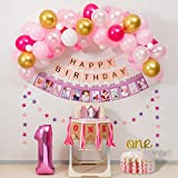 1st Birthday Girl Decorations and Pink&Gold Balloon garland kit for ONE Highchair Banner Decorations,Pink Crown,Happy Birthday Banner,12 Months Photo Banner,ONE Cake Topper,Number 1.First Baby Girl Party Supplies