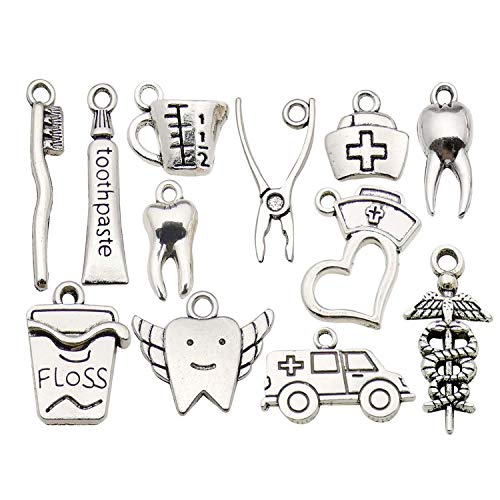 WOCRAFT 70pcs Wholesale Bulk Lots Healthy Tooth Teeth Charms for Jewelry Making Mixed Smooth Tibetan Silver Metal Charms Pendants DIY for Jewelry Making Necklace Bracelet and Crafting (M367)
