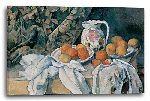 Printed Paintings Impression sur Toile (80x60cm): Paul Cézanne - Nature Morte avec Rideau