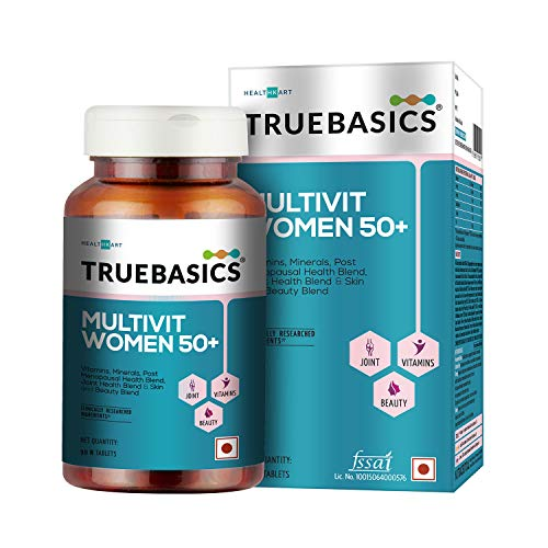 TrueBasics Multivit Women 50+ One Daily, Multivitamins, Multiminerals, For Joints, Skin and Beauty, Post Menopausal Health Blend, Clinically Researched Ingredients, 90 Tablets