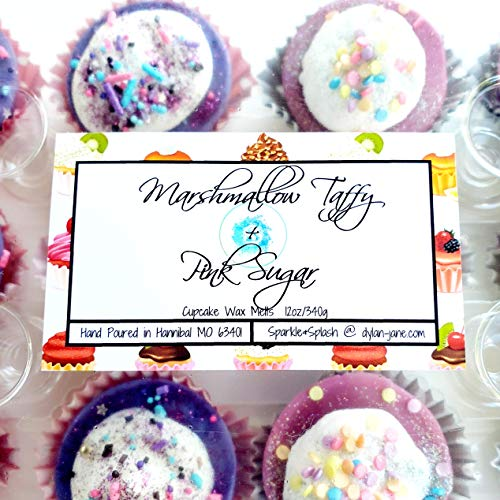 Marshmallow Taffy and Pink Sugar Soy Wax Melt Cupcakes 12oz Scented Tarts for Warmers