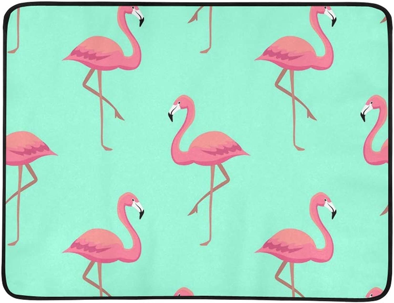 Pink Flamingos Portable and Foldable Blanket Mat 60x78 Inch Handy Mat for Camping Picnic Beach Indoor Outdoor Travel