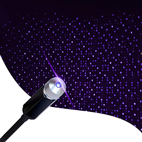 USB Night Light, Aevdor Adjustable Romantic Star Projector Night Lights, Portable Atmosphere Decorations Lamp for Bedroom, Car, Party, Camping, Walls, Ceiling and More (Blue Purple)