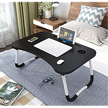 LuvBells® Smart Multi-Purpose Laptop Table with Dock Stand and Coffee Cup Holder/Study Table/Bed Table/Foldable and Portable/Ergonomic & Rounded Edges/Non-Slip Legs/Engineered Wood (Brushed Black)