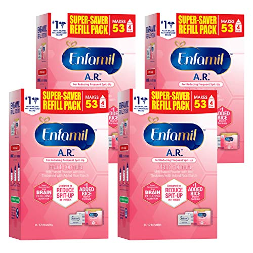 Enfamil A.R. Infant Formula - Clinically Proven to Reduce Spit-Up in 1 week - Refill Pack 30.4 oz (Pack of 4) Omega 3 DHA & Iron, Thickened with Rice Starch (Package May Vary)