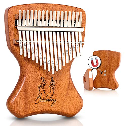 ZAIDENBERG Kalimba 17 Keys Thumb Piano With Ergonomic Design and Exclusive Magnetic Stand, Authentic African Mbira Made of Quality Solid Mahogany Wood, An Extraordinary Musical Instrument.
