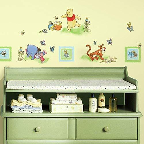Joy Toy 16300 Autocollants muraux Winnie & Freunde 4 feuillage avec 41 éléments, Plastique, Multicolore, 50x50x1 cm