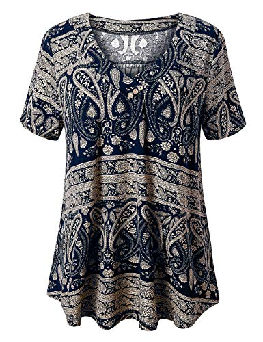 FOLUNSI Damen Übergröße Kurzarm Henley Shirt V Ausschnitt Floral Blusen Tunika Tops M-4XL, Weich, 6-bunt, Marineblau