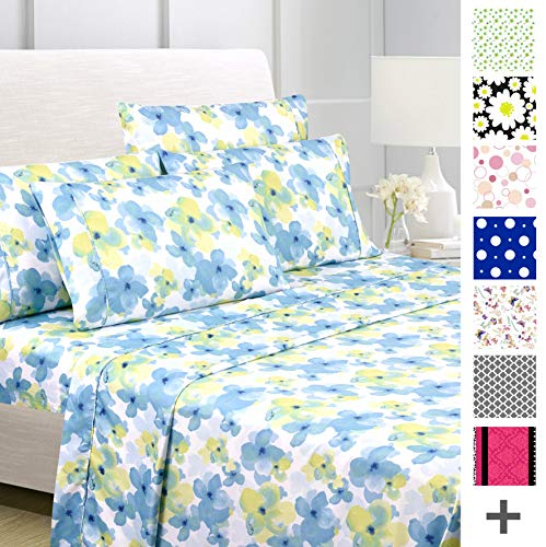 American Home Collection Deluxe 4 Piece Printed Sheet Set of Brushed Fabric, Deep Pocket Wrinkle Resistant - Hypoallergenic (Twin, Watercolor Floral)