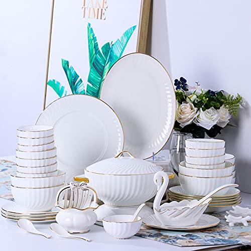 HHTX Juego de vajilla, Juegos de Platos y Cuencos Phnom Penh de cerámica Blanca, Juego de vajilla de Hotel de Estilo Europeo, combinación de Juego de Cuenco y Plato para el hogar para restaurantes