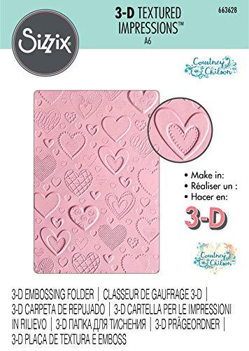 Sizzix Carpeta de repujado Textured Impressions 663628 3D Corazones by Courtney Chilson, Multicolor, talla única