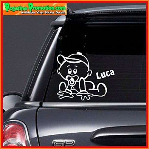 """Hochwertiger Namens Aufkleber \"""" Luca \"""" Autoaufkleber Name Aufkleber Wandtattoo Aufkleber für Glas,Lack,Tür und alle glatten Flächen, viele Farben zur Auswahl,Auto Sticker Baby an Bord, Kindername,Namensaufkleber"""
