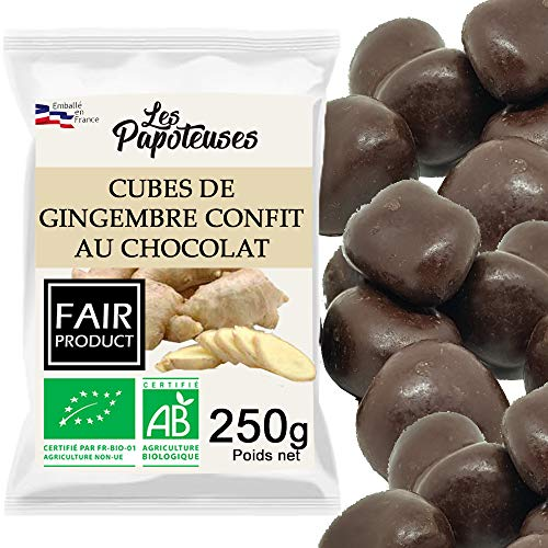 Les Papoteuses | Gingembre confit bio en cubes enrobés de chocolat bio 250 g | Certifié Biologique | 100% naturel | Fruit Confit et Chocolat noir de qualité supérieure | Sans conservateur