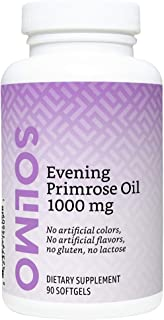 Amazon Brand - Solimo Evening Primrose Oil 1000 mg, 90 Softgels, One Month Supply