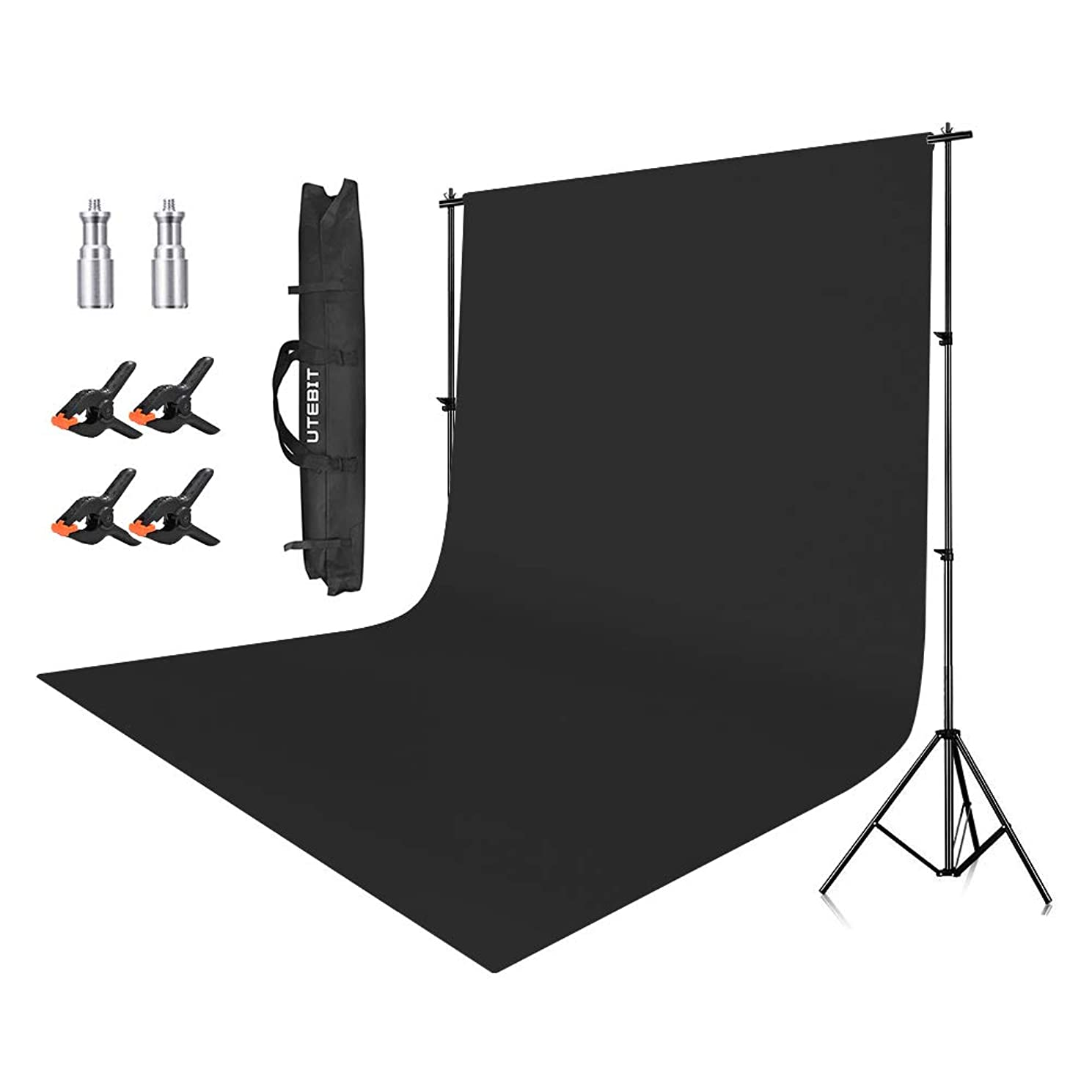 UTEBIT 6.5x9FT Background Stand Polyster 6x9FT Backdrop Kit Black Wrinkle Resistant Photo Booth 4 Pack Heavy Duty Clips with 2M10 Screw Adapter and Carrying Bag for Photo Video Studio Photography