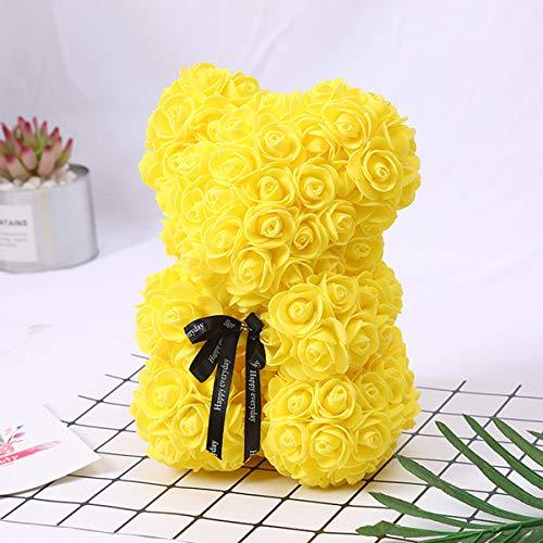 HBHHB Oso De Rosas 25Cm Flor Eterna con Caja De Regalo, Artificiales R