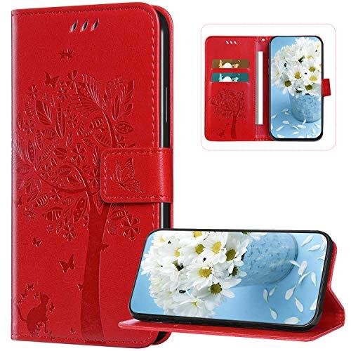 Kompatibel mit Samsung Galaxy A21S Hülle Leder Flip Handyhülle Schutzhülle Tasche Case mit [Kartenfach] [Standfunktion] [Magnetverschluss] für Samsung Galaxy A21S, Katze Baum Rot