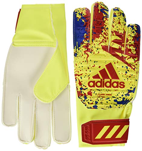 adidas Classic Trn J Goalkeeper Gloves, Unisex niños, Solar Yellow/Active Red/Football Blue, 7